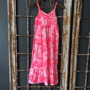 Justice Pink and White Tie-dye Sundress
